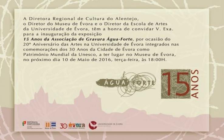 """Exposição """"15 Anos de Água-Forte"""", no Museu de Évora"""